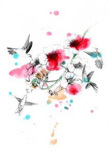 fleur-colibri-encre