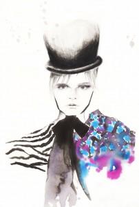 illustration-dessin-crayon-encre-femme-chapeau