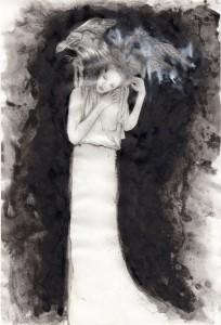 illustration encre Alexander Mcqueen